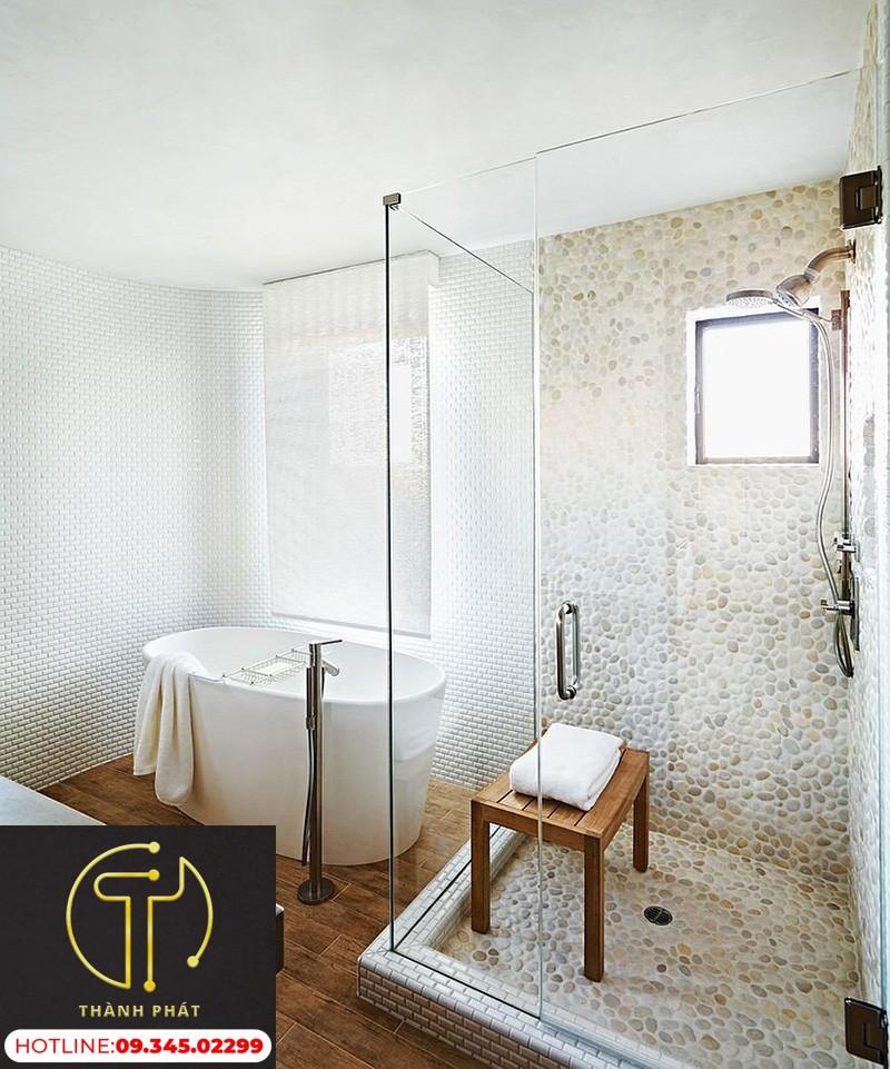 vách kính nhà tắm không cửa