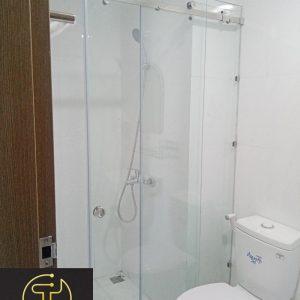 vách kính phòng tắm cửa lùa ray treo